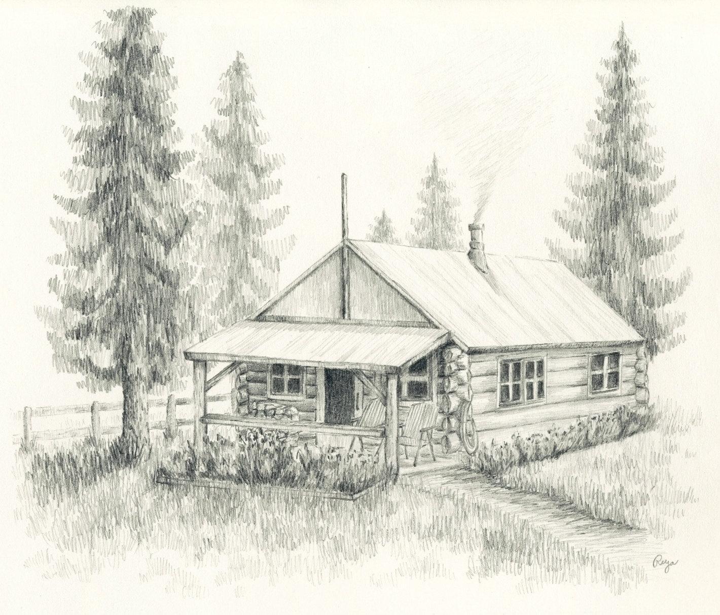 Drawn bulding  log cabin Drawing Meditation Cabin Log hut