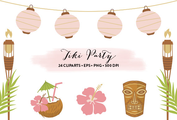 Hut clipart pink party Clipart Clipart Tiki Vector Party