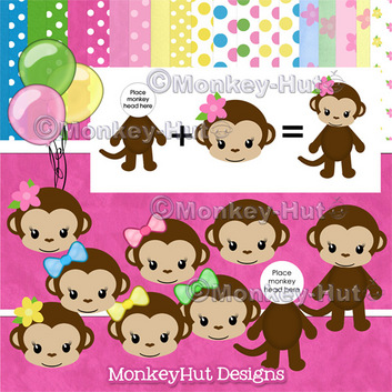 Hut clipart pink party Girl touches Monkey coordinating projects