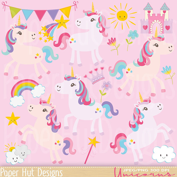 Hut clipart pink party Personal Girl Unicorn Girl Clouds