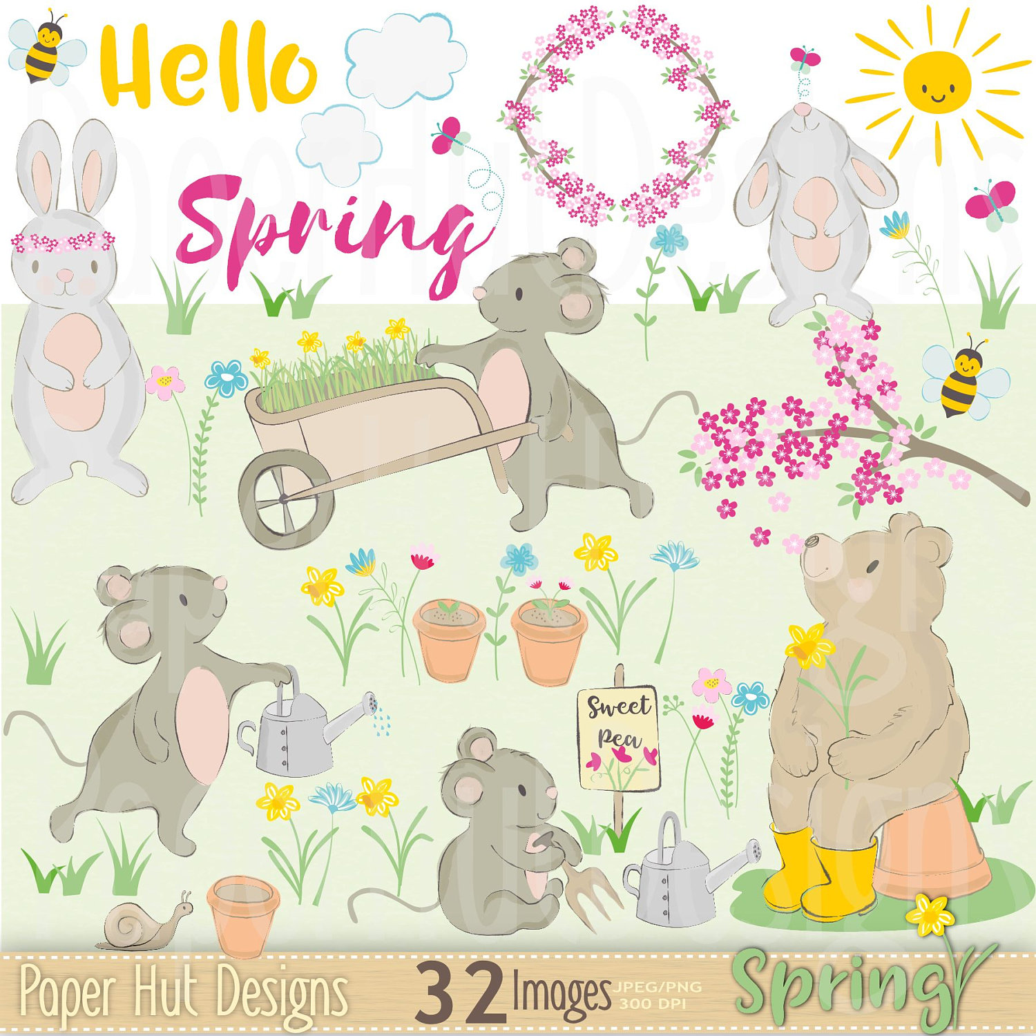Baby Animal clipart hand drawn Rabbit and Cute Mouse Clipart