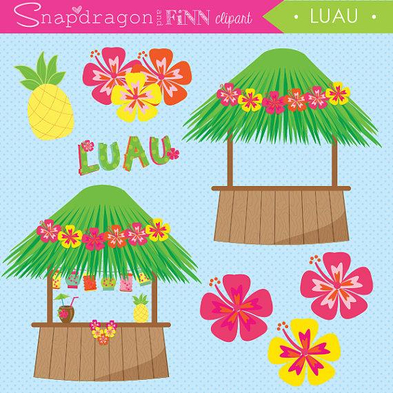 Hut clipart tiki hut  This digital Hula Luau