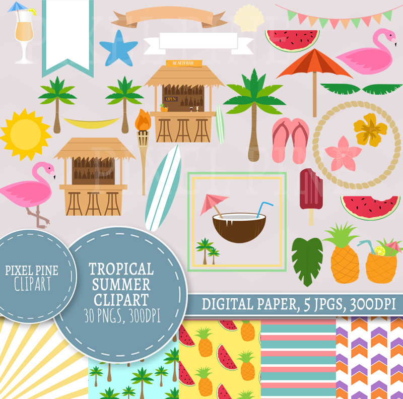 Hut clipart tropical Tropical party clipart is digital