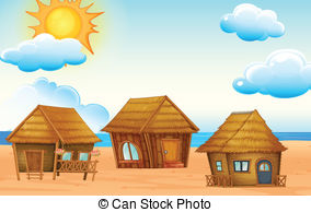 Bungalow clipart hut On Huts beach of and