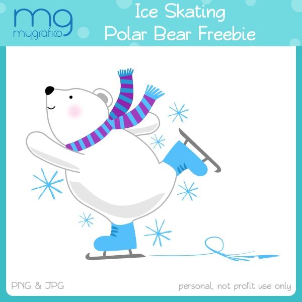 Skiing clipart polar bear Skating Skating Bear  bear