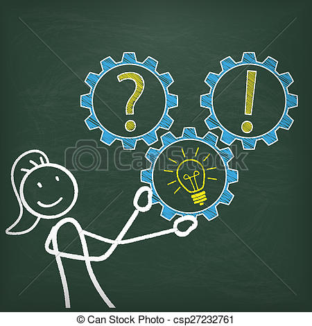 Idea clipart answer Stickwoman Idea csp27232761 Stock Blackboard