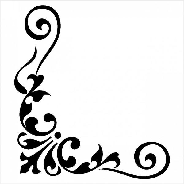 Calligraphy clipart corner Lis corner fleur Search de