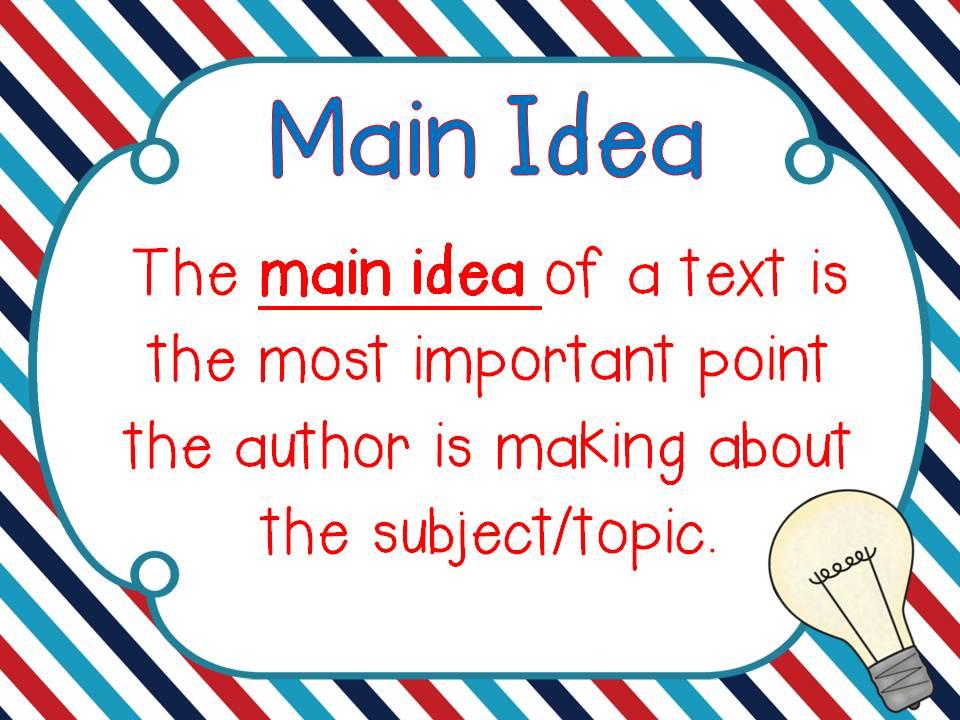 Bulb clipart main idea Literature6th Lessons Tes SuarezLanguage and