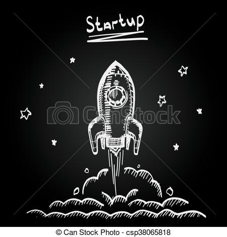 Rocket clipart chalkboard Creative  sketch startup Creative