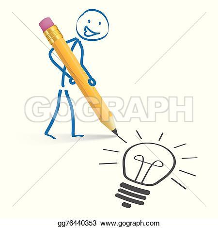 Idea clipart stickman White bulb  idea gg76440353