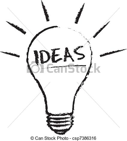 Bulb clipart lightning Csp7386316 of on chalk Clip