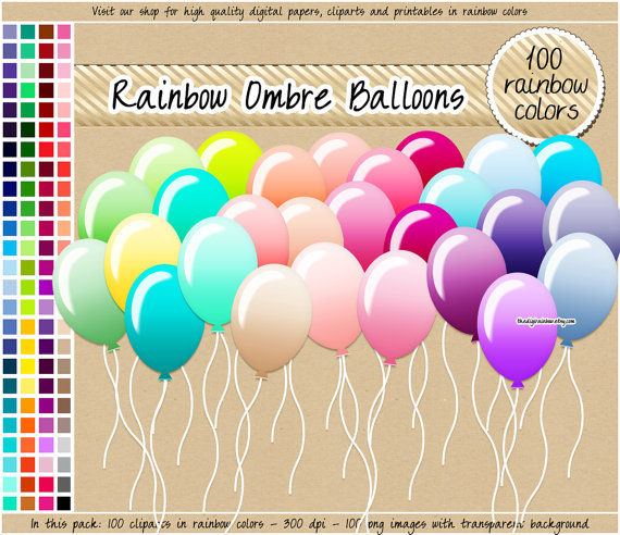 Iiii clipart balloon From ombre paper rainbow rainbow