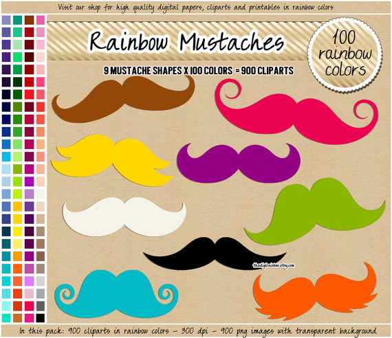 Iiii clipart cupcake Mustache  digital cliparts printable