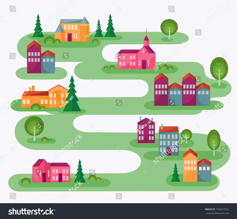 Iiii clipart hole punch Map Cartoon Illustration Village Abstract