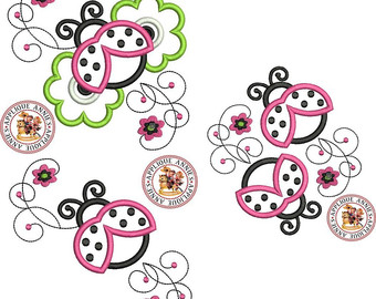 Iiii clipart ladybug (3) Swirls Embroidery Design Three