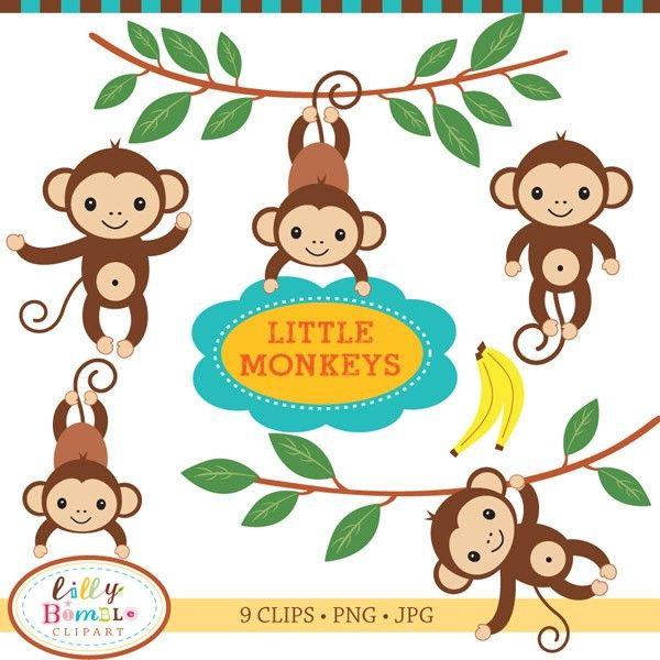 Iiii clipart little monkey Baby clip Invitation Birthday art
