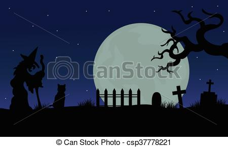 Iiii clipart witch Cat in witch Illustration silhouette