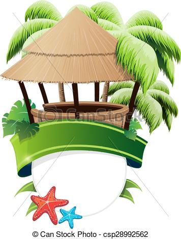 Bungalow clipart hut Art bar palm csp28992562 and