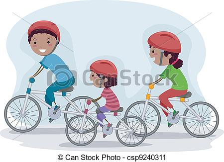 Bike clipart family cycling Of Biking Vector Together of