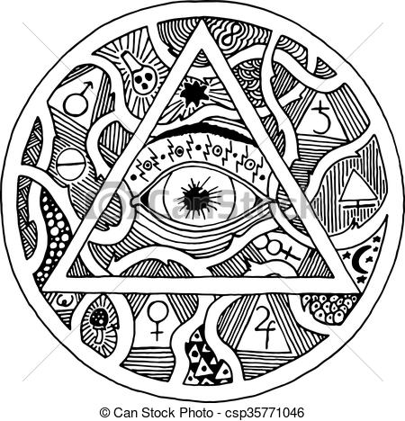 Drawn pyramid all seeing eye Engraving seeing symbol Vector pyramid