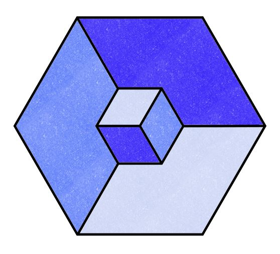 Illusion clipart 3d box Colored 3D Cube with Cube