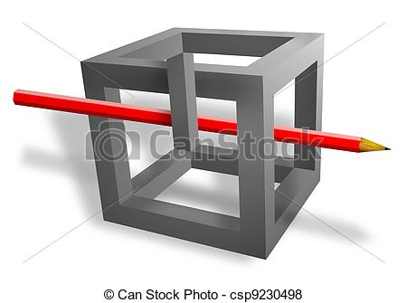 Illusion clipart 3d cubes Pass red pencil  throught