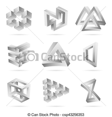 Illusion clipart impossible Impossible Paradox Figure Set of