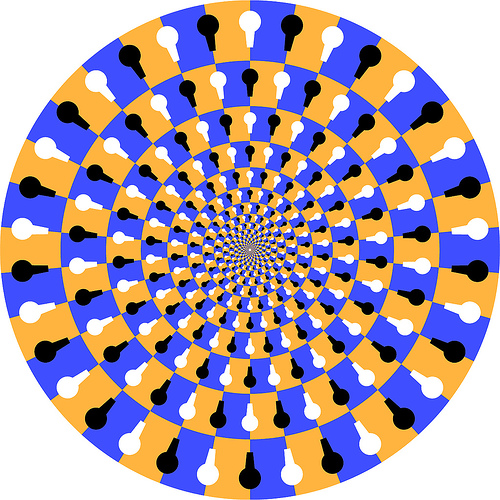 Drawn stare optical illusion And spinning! more optical it
