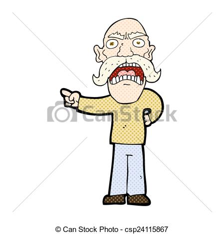 Illustration clipart angry old man Man Vector Clip of retro