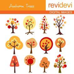 Illustration clipart autmn Clip art Tree set Art