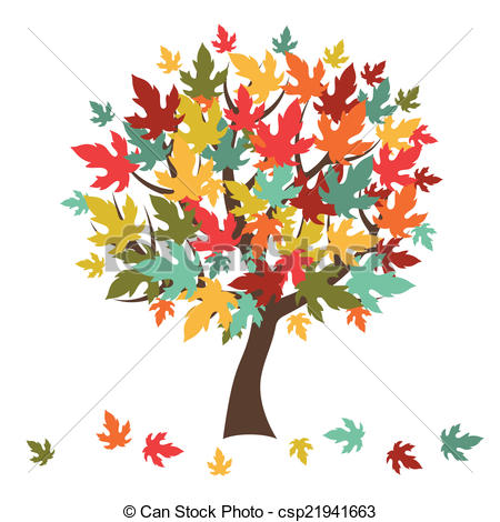 Illustration clipart autmn Of with leaves for greeting
