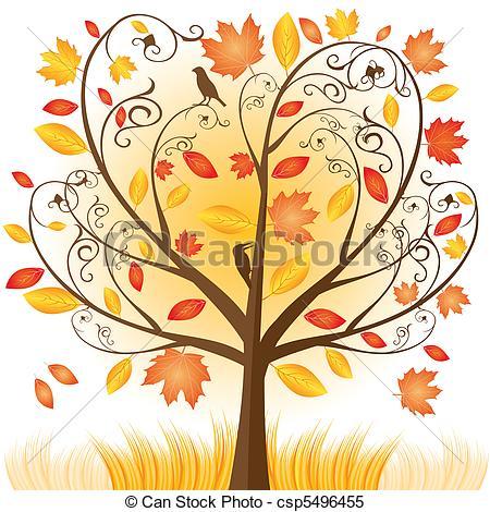 Illustration clipart autumn season Tree vector autumn  Beautiful