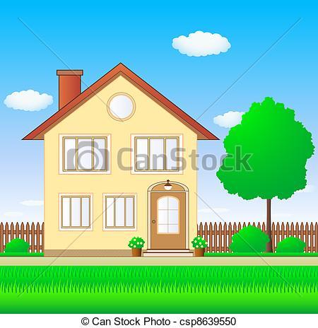 Illustration clipart beautiful house Beautiful Illustration Stock garden house