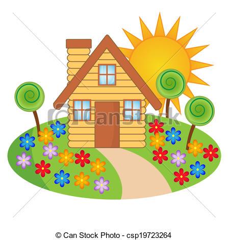 Hosue clipart beautiful house Flowering Vector  house Art