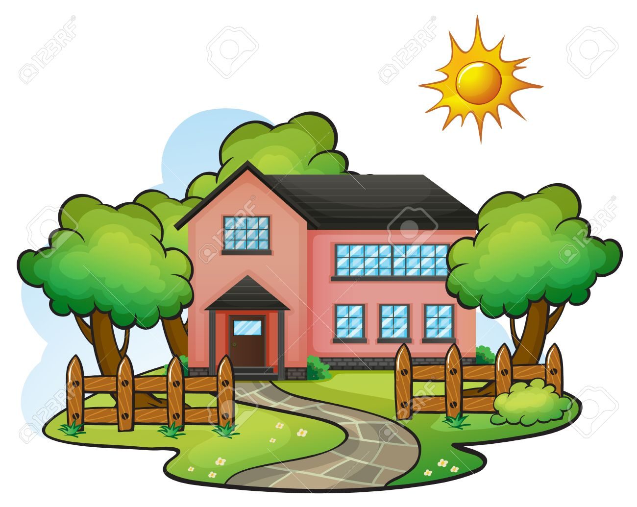 Hosue clipart beautiful house Illustration 1300x1035 clipart 141KB scenery