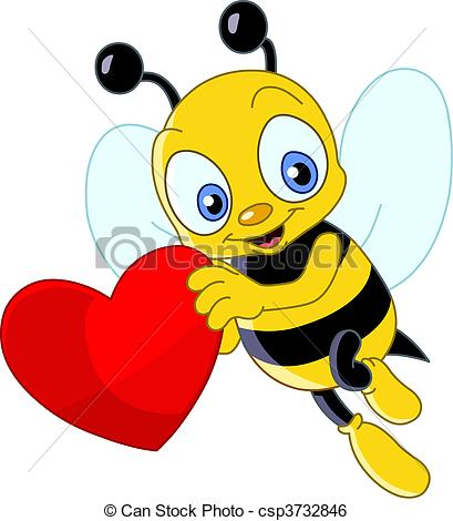 Illustration clipart bee A of heart csp3732846 holding