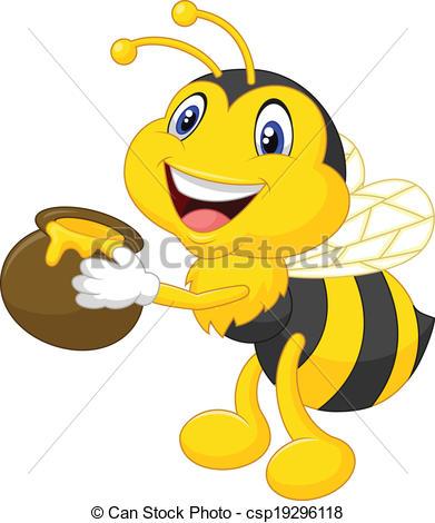 Illustration clipart bee Bucket Clip Vector honey honey