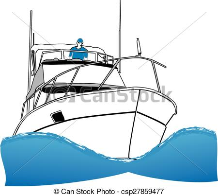 Illustration clipart boat Boat of Fishing Offshore Vectors