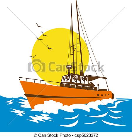 Illustration clipart boat On ocean Clip the boat