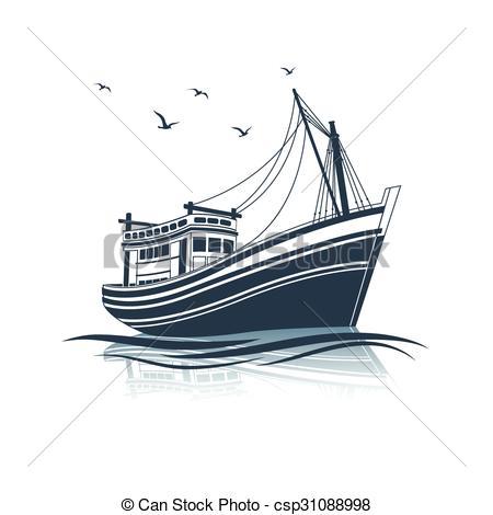 Illustration clipart boat EPS Boat on side of