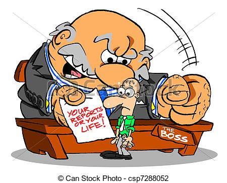 Illustration clipart boss Angry and of desk boss