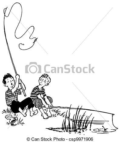 Illustration clipart boy fishing Boys  bank Art Fishing