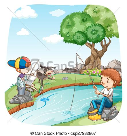 Illustration clipart boy fishing Boys  Vector Two in