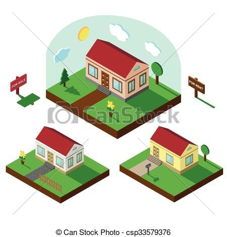 Hosue clipart bungalow Village bungalow of csp33579376 set