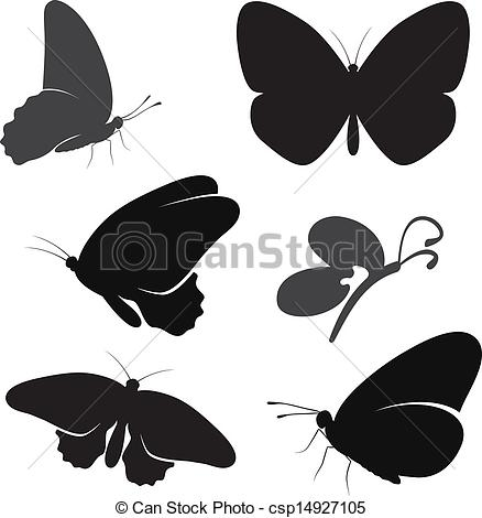 Illustration clipart butterfly silhouette Vector set silhouette of butterfly