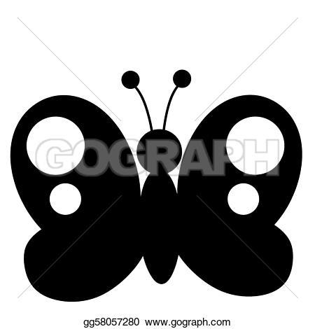 Illustration clipart butterfly silhouette White Black Illustration EPS EPS