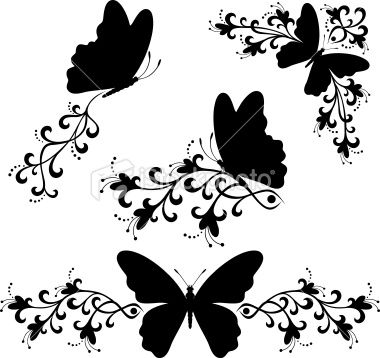 Illustration clipart butterfly silhouette Silhouette White & Free Svg