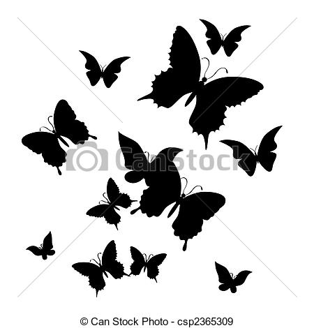 Illustration clipart butterfly silhouette Csp2365309 Vector butterfly Vectors