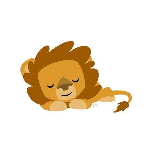 Illustration clipart cartoon lion Lion illustration Sleeping on sticker: