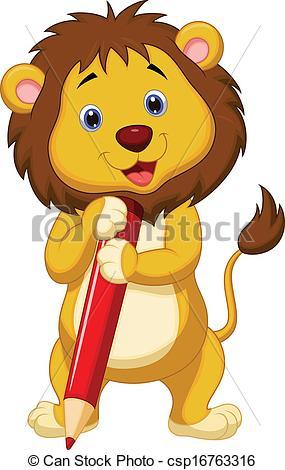 Illustration clipart cartoon lion Art Vector of Cute lion